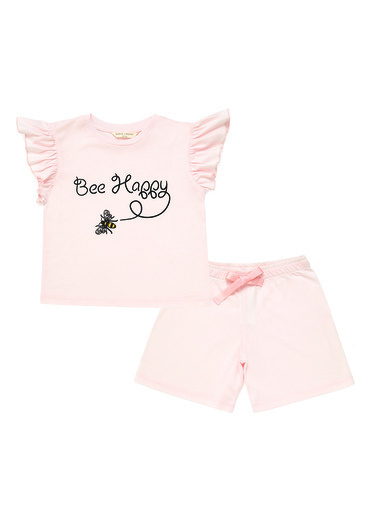 Katia & Bony Bee Love Mini Kız Çocuk Şort Set  Pembe
